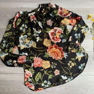 Loft black floral blouse. Size small.